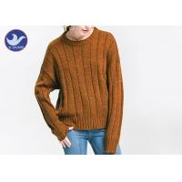 Anti - Pilling Brown Womens Knit Pullover Sweater Soft Rib Knitting Apparel