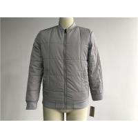Grey Quilted Mens Polyester Bomber Jacket With Rib Detail Plastic Zip Through Tw77570 Manufactures