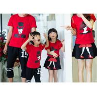 Casual Cotton Kids T Shirts Pants , Summer Matching Family Shirts With Skirt Set Manufactures