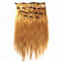 Human Hair Clip Weft, Available in Silky Straight/Curly Styles and Various Sizes/Colors Manufactures