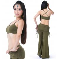 Tribal viscose belly dance practice costume / belly dance workout clothes Olive green color Manufactures