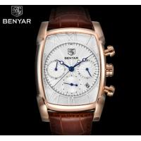 China Wholesale Benyar Antique Square  Men Genuine Leather Strap Chronograph Multifunction Quartz Wrist Watches  BY-5113M on sale