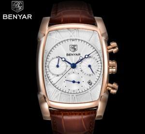 China Wholesale Benyar Antique Square  Men Genuine Leather Strap Chronograph Multifunction Quartz Wrist Watches  BY-5113M on sale