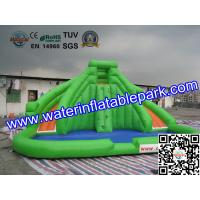 CE / UI Green Bouncy Inflatable Slide Water Jumper With Swimming Pool Manufactures