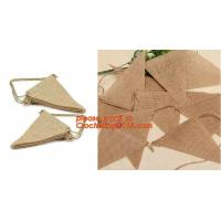 China 3M Vintage wedding birthday party decoration Chic burlap linen lace jute garland bunting banner on sale