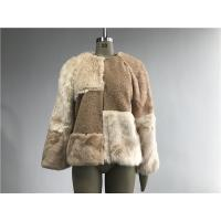 Beige Short Ladies Fake Fur Coats , Faux Fur Tan Teddy Fur Combo Coat Manufactures