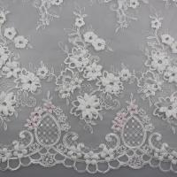 3D Flower Beaded Lace Fabric , Embroidery Lace Tulle Fabric For Bridal Dresses Manufactures