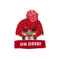 9 Gauge Warm Winter Accessories Light Women Christmas Hat With Jacquard Pattern Manufactures