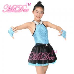 Fancy Polyester Lycra Girl Jazz Dance Dress With Rhinestones Choker Collar