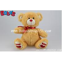 China Factory Made Brown Lovely Stuffed Valenines Day Teddy Bear With Red Heart Printing Ribbon on sale
