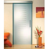 Custom Satin Etched Glass Door With Groove , Tempered Glass For Shower Room Manufactures