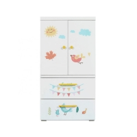 Folding Plastic SGS 114cm Baby'S Wardrobe With Drawers Manufactures