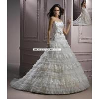 China Lace Tiered Skirt Custom Wedding Dress Gown (WD10045) on sale