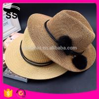 2017 Fabrics Used manufactuer Panama Solid customize Cowboy Summer Straw Paper Women Hats with  Flowers  95g 12*24cm Manufactures