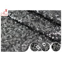 Shiny Embroidered Black Sequin Mesh Fabric For Party Evening Dress R&D Available Manufactures