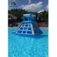 Professional Blue White Inflatable Water Toys Climbing Tower Slide With Roof Manufactures