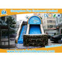 China inflatable bouncer ,PVC Tarpaulin Camo Slide / Commercial Inflatable Dry Slide With Logo Printing on sale