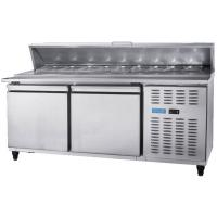 Stainless Steel Commercial Kitchen Worktable Pizza Salad Freezer Table Refrigerator For Industrial Hotel / Restaurant Manufactures