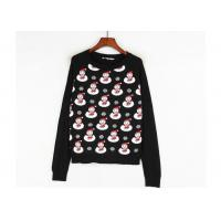 Black Color Xmas Girls Ugly Christmas Sweater Custom Made Santa Claus Pattern Manufactures