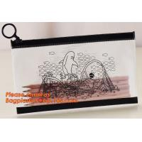 A4 clear plastic pp document carrying file folder zipper lock pocket bag with small button file wallet Manufactures
