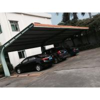 China Small Car Parking Shed Garage Steel Frame With Red Arc Shape Roof Top on sale