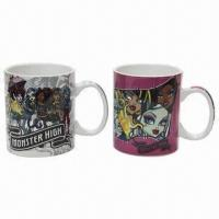 China Stoneware mug with 11oz capacity, cartoon designs for advertisement on sale