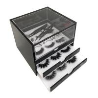 Elegant 3 Grid Acrylic Eyelash Organizer , Plexiglass Eyelash Box For Makeup Tools Storage Manufactures