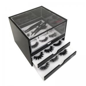 Elegant 3 Grid Acrylic Eyelash Organizer , Plexiglass Eyelash Box For Makeup Tools Storage Manufactures