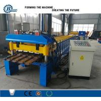 Metal Trapezoidal Shape Step Roof Tile Roof Roll Forming Machine With Pressing Device Manufactures