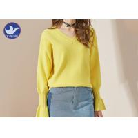 Candy Color V Neck Trumpet Cuff Womens Knit Pullover Sweater Jumper Manufactures