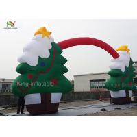 Green Color CE Nylon Merry Christmas Tree Inflatable Archway For Santa Claus Xmas Decoration 11m Manufactures