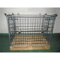 Galvanized Metal Mesh Containers Foldable Steel Mesh Cage With Wood Pallet Manufactures