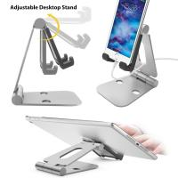 Multi-angle Folding Portable Silver Black Aluminum Tablet Stand For Smartphone / iPad With A Silicone Anti-slip Cover Manufactures