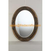 Antique gold finish PU framed oval shaped wall mirror with carved flowers and bevelled mirror Manufactures