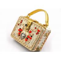 Golden Metalic Evening Clutch Bags Small Sized With Retro Carved Diamond