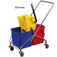 Housekeeping 60L Yello Blue Double Mop Wringer Bucket Double Winger Mop Trolley for Hotel Lobby Floor Cleaning Manufactures
