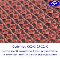 Buy cheap Jacquard Coin Pattern Carbon Aramid Fabric Black / Red Carbon Aramid Hybrid from wholesalers