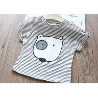 Quality Anti Pilling Striped Cotton Kids T Shirts 1.6 Kg Embroidered Technics for sale