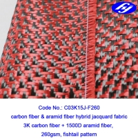 Plane Pattern Woven Aramid Fabric / High Strength Red Carbon Fiber Kevlar Cloth Manufactures