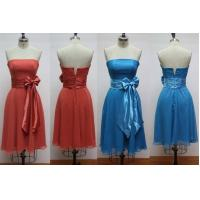 China Bateau Neckline Short Style Strapless Modern Bridesmaids Dresses with Bow Sash on sale