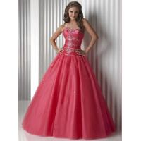 China Gorgeous Watermelon Quinceanera Party Dresses Strapless And Organza on sale