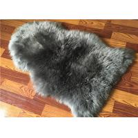 China Real Sheepskin Rug Natural Large Light Grey dyed Long lambswool Home Decorative rug on sale