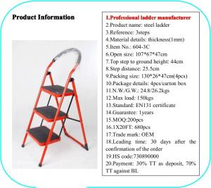 EN131 Red 1.07cm Stainless Steel Folding Step Ladder Manufactures