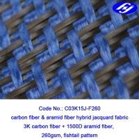 Buy cheap Plane Pattern Carbon Aramid Fabric Carbon Blue Carbon Kevlar Hybrid Fabric from wholesalers