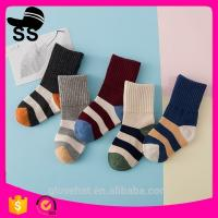 2017 High Quality 69%cotton 25%Polyester 6%Spandex Striped Jacquard Sweat-absorbent Winter  Baby Children Stylish Socks Manufactures