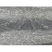 Beautiful Silver Embroidered Heavy Beaded Lace Fabric , Beaded Net Fabric 130cm Width Manufactures