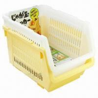 Household Plastic Storage Baskets, Stackable, Made of PP Manufactures