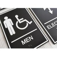 Wall Mounted ADA Restroom Signs Double Faced Adhesive Custom Room ID With White Border Manufactures