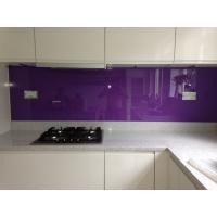 Kitchen Violet Painted Glass Backsplash Easily Clean The Stains Manufactures
