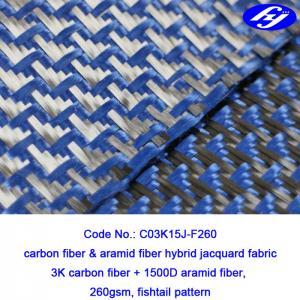 Plane Pattern Carbon Aramid Fabric Carbon Blue Carbon Kevlar Hybrid Fabric Manufactures